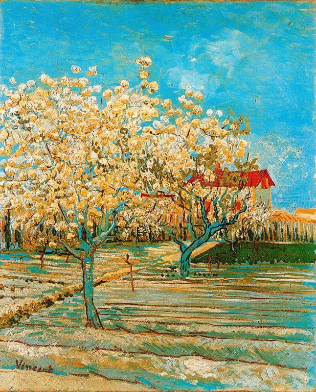 """Orchard in Blossom""  --  1888  --  Vincent van Gogh  --  Dutch  --  Oil on canvas  --  Private Collection, Switzerland."