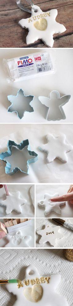 Fingerprint Snowflakes | 20+ Easy to Make Christmas Ornaments