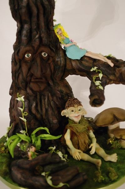 """Edible Art of the Day Winner for Friday, August 02 Lesi Lambert.  Faery Forest Cake Tree is constructed using PVC structural material for support. Gumpaste troll is made using the submitted """"realist gumpaste faces"""" tutorial I submitted last month.  Congrats Lesi!!!"""