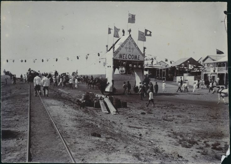 303136PD: Chinese community welcome arch to the Governor, Broome, 1902.  https://encore.slwa.wa.gov.au/iii/encore/record/C__Rb3823245