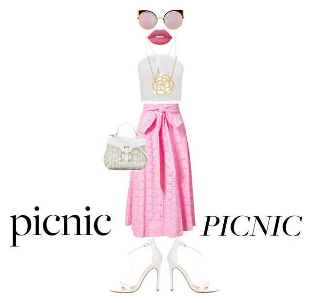 """""""Picnic Date Outfit"""" by ms-fame ❤ liked on Polyvore featuring Lisa Marie Fernandez, Serpui, Fendi, Lime Crime and Lord & Taylor"""