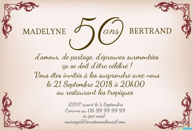 invitation anniversaire mariage style