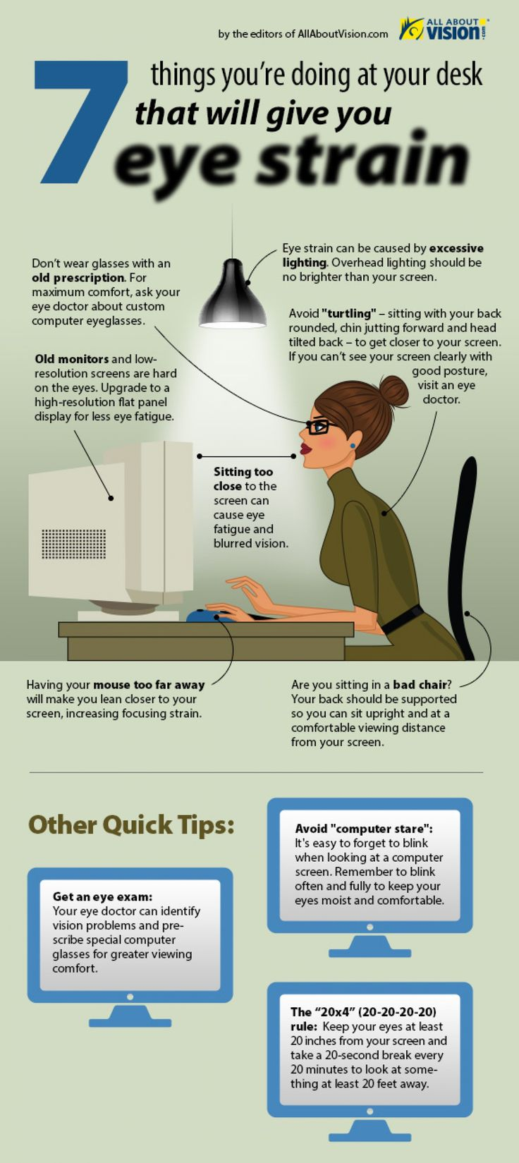 7 Things You're Doing at Your Desk That Give You Eye Strain Infographic | All About Vision