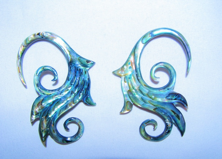 Avaia Artistic Jewelry  - Abalone shell LILY hanging ear gauges - 8g 6g spiral carved, organic plugs, $38.99 (http://www.avaiaartisticjewelry.com/products/Abalone-shell-LILY-hanging-ear-gauges-%2d-8g-6g-spiral-carved,-organic-plugs.html)
