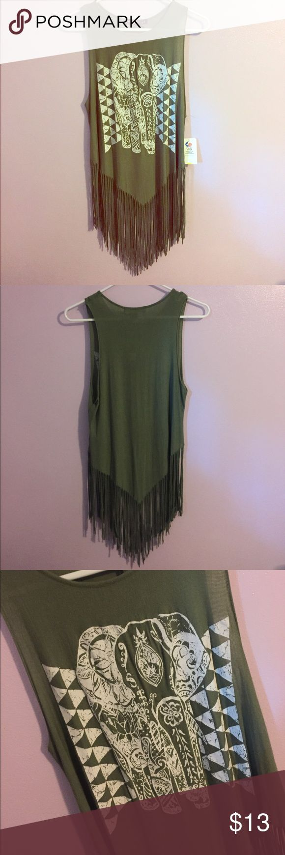 Living Doll olive green elephant fringe tank Living Doll olive green elephant fringe tank. Very soft material. Perfect for a festival or concert. NWT. Living Doll Tops