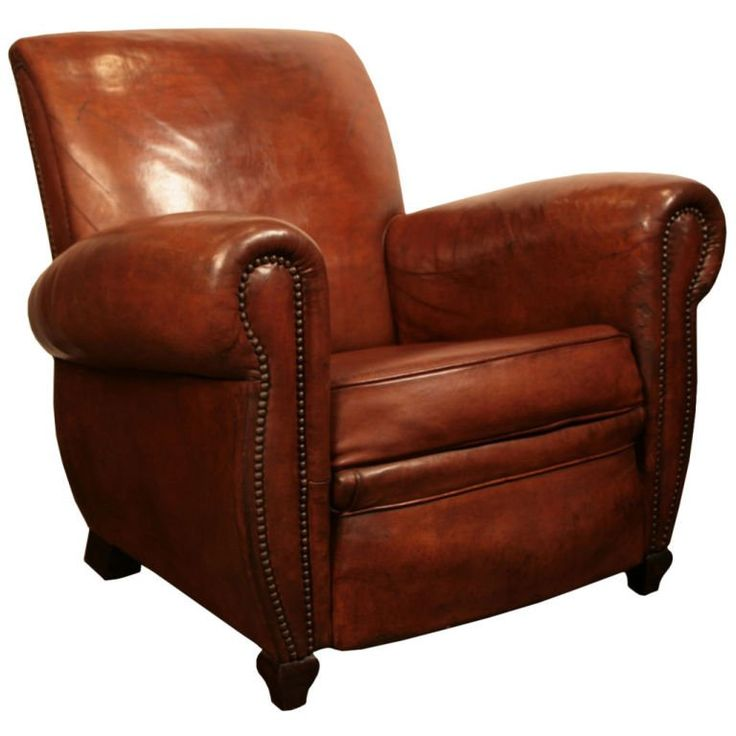 French Art Deco Period Leather Club Chair   From a unique collection of antique and modern club chairs at https://www.1stdibs.com/furniture/seating/club-chairs/