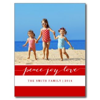 Modern Peace, Joy, Love Holiday Postcard | Red Budget friendly holiday postcards, don't sacrifice style when on a budget! Beautiful design featuring your family photo. Now save 20% with code: PREP4HOLIDAY