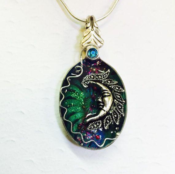 Moon Spoon Necklace, Resin Spoon Pendant, Green Celestial Scene, Silverware Jewelry