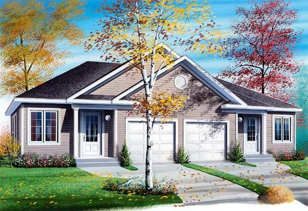 Duplex Plan chp-44105 at COOLhouseplans.com | 2 br 1 ba each - like the garages