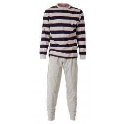 Statige en brede lichtgrijze en donkere strepen opgefrist met witte en goudgele lijntjes bij heren pyjama met lichtgrijze broek