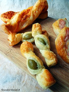 Puff pastry candies with olives. QUick and easy appetizer.