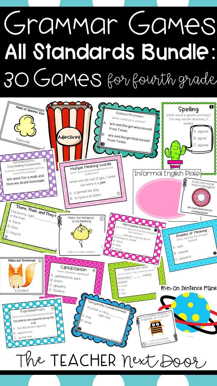 Make Grammar Fun With This Set Of 30 Grammar Games One For Each Standard Your Fourth Graders Will Get Lots Of Language Pra Grammar Games Grammar Class Games [ 1280 x 720 Pixel ]