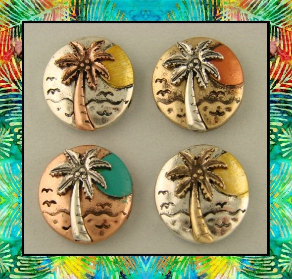 Island Sunset Palm Tree Beads Tropical Beach Ocean Seagull 2 Hole Sliders QTY 5