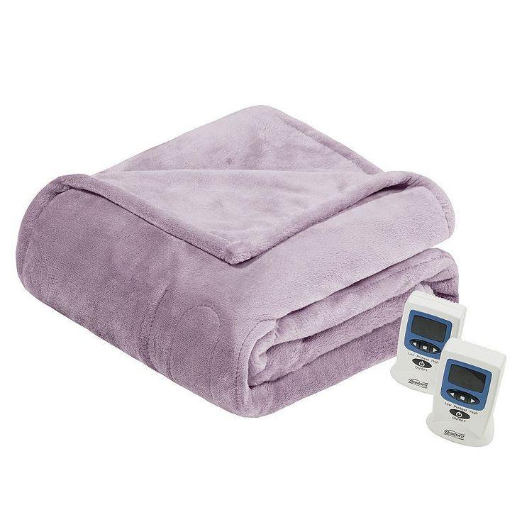 Beautyrest Plush Heated Blanket, Lt Purple
