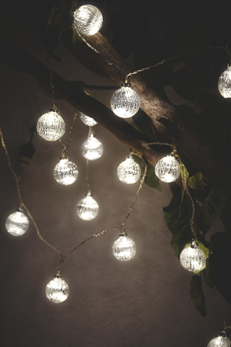 Hang these Ascella silver bauble string lights on trees or sheds for a magical look. # ...