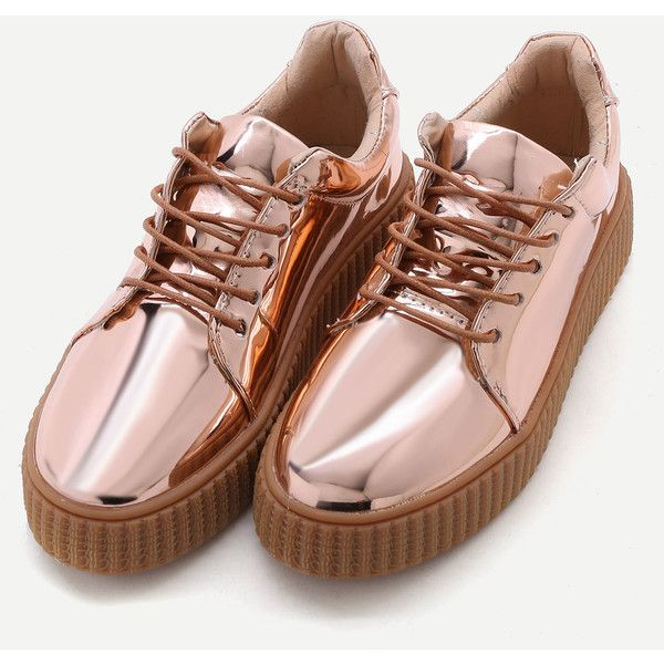 SheIn(sheinside) Rose Gold Patent Leather Rubber Sole Sneakers (€37) ❤ liked on Polyvore featuring shoes, sneakers, patent leather shoes, round cap, laced up shoes, laced shoes and lace up shoes