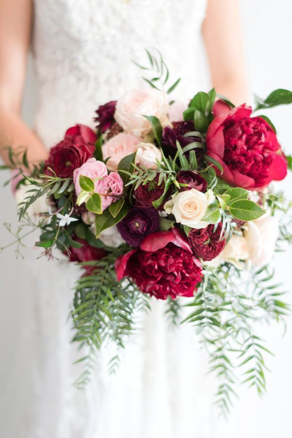 Beautiful red peony bridal bouquet | Crimson and violet bridal wedding bouquet: http://www.stylemepretty.com/2017/04/10/a-french-garden-inspired-wedding-on-the-sunshine-coast/ Photography: Studio Impressions - http://www.studioimpressions.com.au/