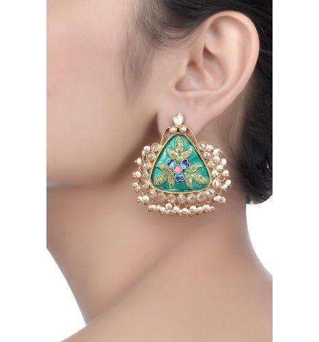 Amrapali Silver Enamelled Green Triangular Earrings