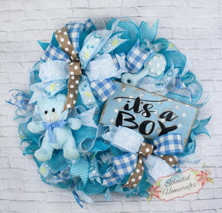 Baby Boy Wreath, Baby Wreath, Boy Wreath, Baby Wreath, Baby Shower Wreath, It's a Boy Wreath, Rustic Baby Decor, Baby Boy Room Decor by Splendid Homecrafts on Etsy
