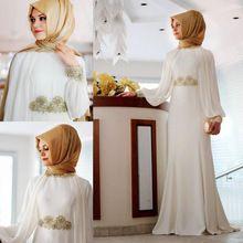 Apliques de Gola alta Vestidos de Noite Manga Longa Vestidos 2017 Preto Hijab Islâmico Abaya Kaftan Muçulmano Evening Formal Vestidos de Festa(China (Mainland))