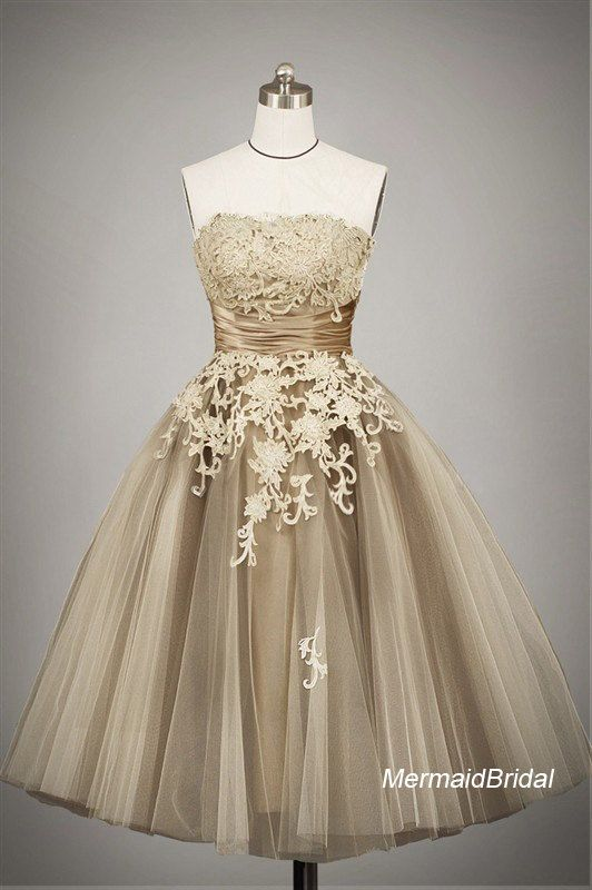 2013 champagne outdoor destination wedding dress vintage for Champagne tea length wedding dresses