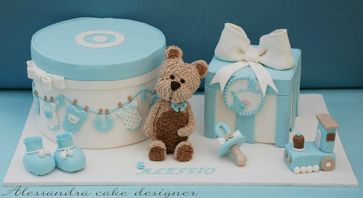 Teddy Bear and Toys Baby Themed Cake for a Boy