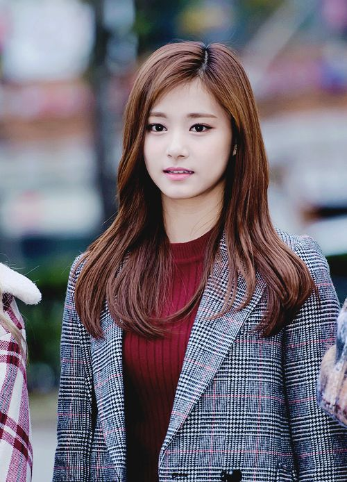 This is a picture of Tzuyu Chou from the Kpop girl band TWICE.