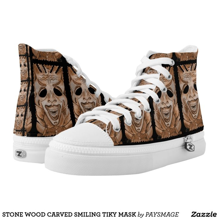 STONE WOOD CARVED SMILING TIKY MASK High-Top SNEAKERS