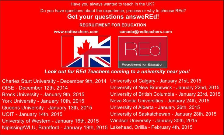 Wanting to teach full time in the UK? Get all of your questions answeREd. Look out for REd Teachers coming to a university near you! For more information, or any questions you may have before attending the fair please contact me directly shelby@redteachers.com