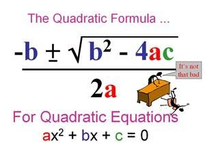 The Quadratic Formula: solves quadratic equations for the values of x (the x-intercepts of the graph); when the formula gives you a negative inside the square root, you can simplify that zero using complex numbers; it is valid because if you plug it back into the quadratic, you'll get zero after you simplify; you can't graph the complex number on the x,y-plane, so the solution is not an x-intercept