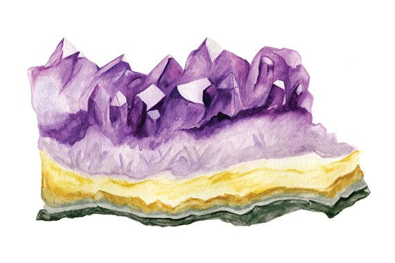 Watercolour Amethyst Gemstone 8x10 Art by SquirrellyMindsPaper