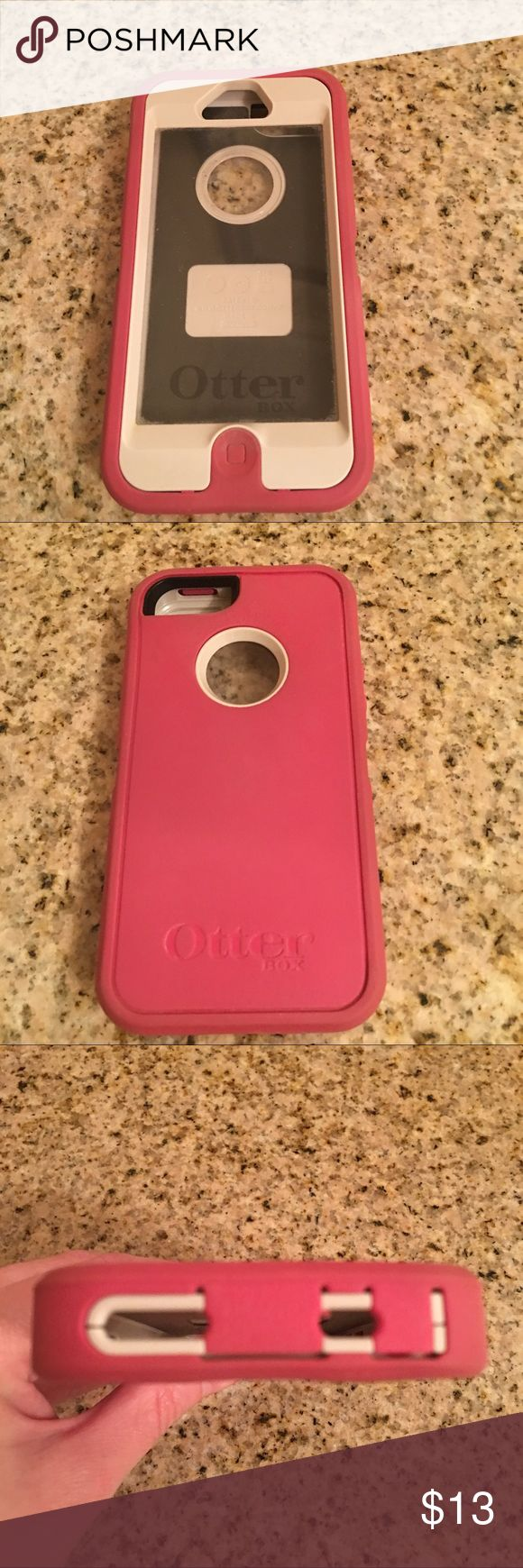iPhone 5 Otterbox Case (Price Firm) This is an Otterbox defender series case for the iPhone 5 in pink. It is gently used and shows minor scuff marks on the plastic screen protector, but it does not affect the visibility of the phone screen.  (Price Firm) OtterBox Accessories Phone Cases