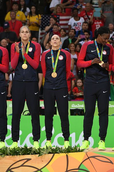 Elena Delle Donne and Diana Taurasi of the USA Women's National Basketball Team…