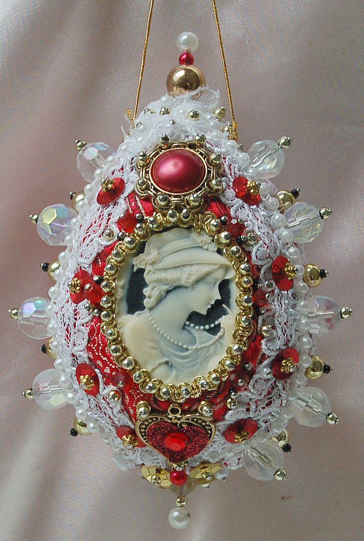 Cameo egg ornament:
