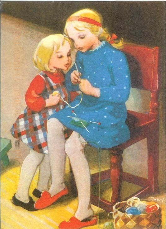 """"""" Niñas tejiendo"""" - """" Children knitting """" (Postal) Martta Wendelin (1893-1986) Artista finlandesa de la ciudad de Tuusula. Pintora gráfica, Dibujante ilustradora."""