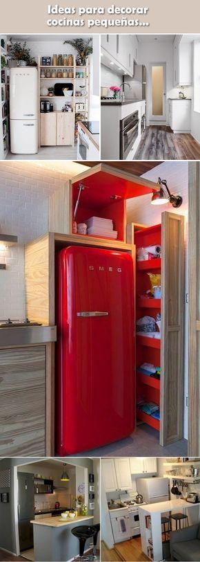 Ideas para decorar cocinas pequeñas. Decoración de cocinas. Decoración de espacios pequeños.