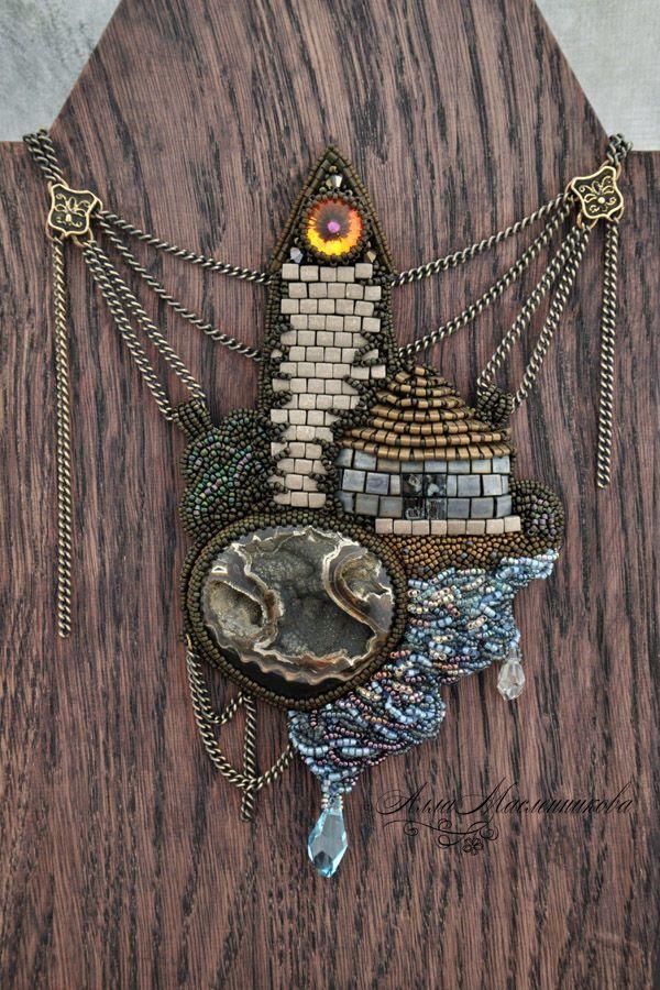"""Купить Колье """"Маяк"""", украшение-пейзаж с симбирцитовой жеодой - комбинированный, колье, маяк, море"""