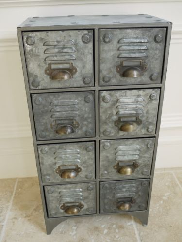 Vintage Industrial Style Metal Chest Of 8 Drawers ~ Aged Metal Chest Cabinet