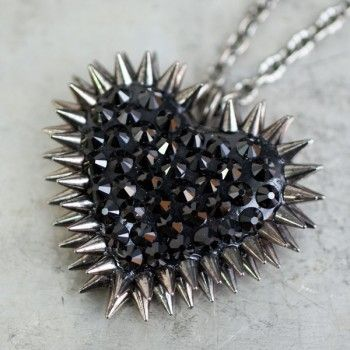spiked heart jewelry -- dear valentine, hint hint hint hint hint.Distance Black Pavèd, Valentine'S Day, Black Heart, Heart Jewelry, Necklaces Handmade, Spikes Heart, Heart Necklaces, Handmade Heart, Handmade Gift