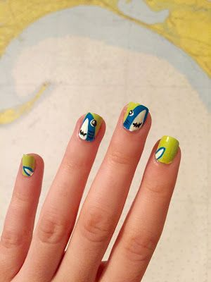 Left Shark Nail Art #nailart #sharknails #jawsnails #manicure #leftshark