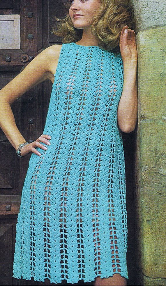 PDF Vintage Womens Dress Crochet Pattern 1970s  LEAFY LACE