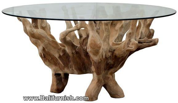Tree root table glass top bali indonesia bigger glass top for Tree root dining table