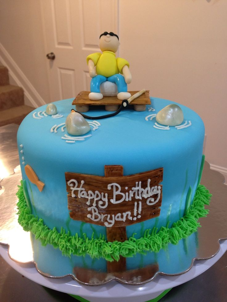 57 best fishing party ideas images on pinterest birthday for Fishing cake ideas