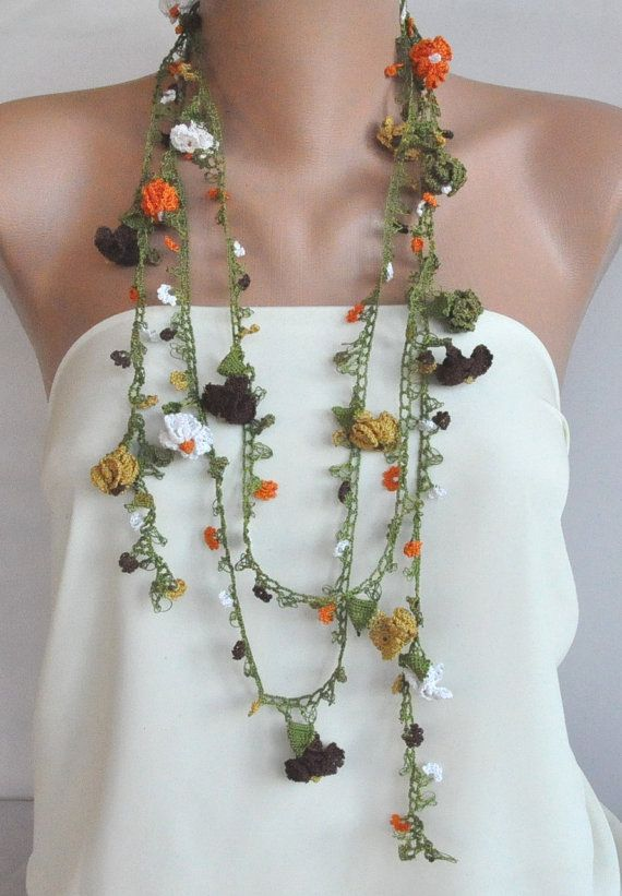 Crocheted necklace that is also a scarf. Lovely!