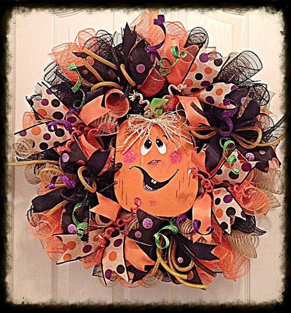 Halloween Pumpkin Deco Mesh Wreath/Halloween Wreath/Pumpkin Wreath/Orange, Black and Purple Halloween Wreath/Fall Wreath