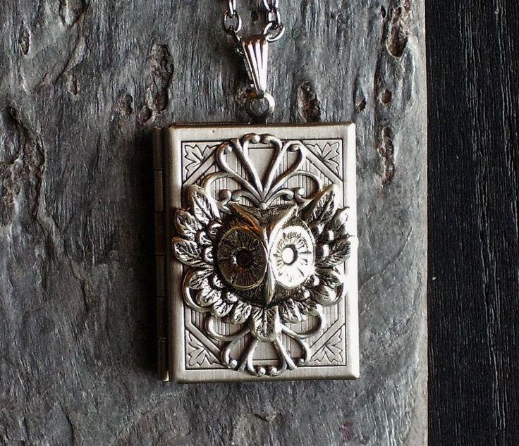Silver owl book locket necklace