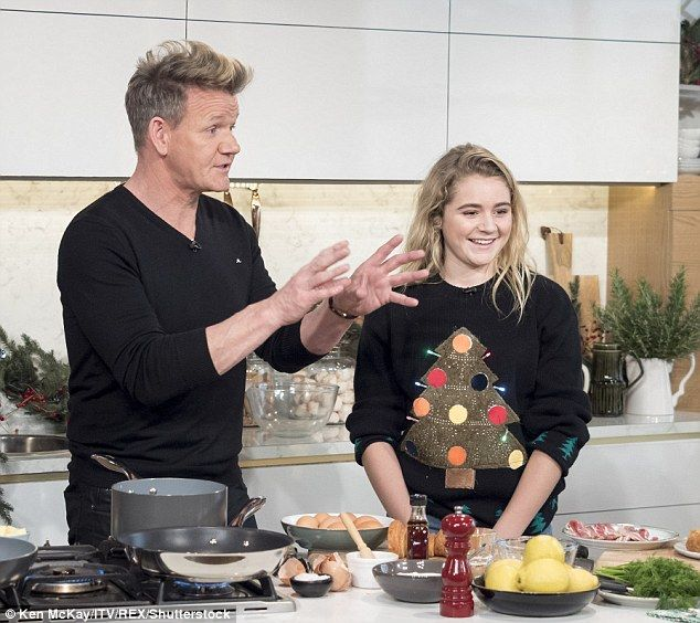 Star family: Gordon Ramsay was joined by his youngest daughter Tilly as they appeared on This Morning on Thursday to whip up a Christmas day breakfast feast
