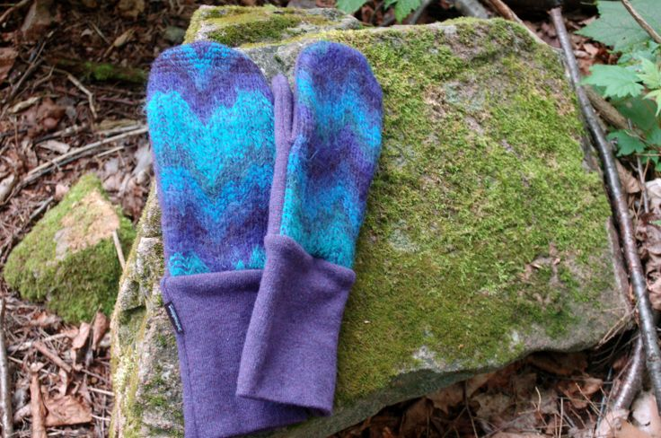 Upcycled mohair mitts against moss in Gatineau Park.