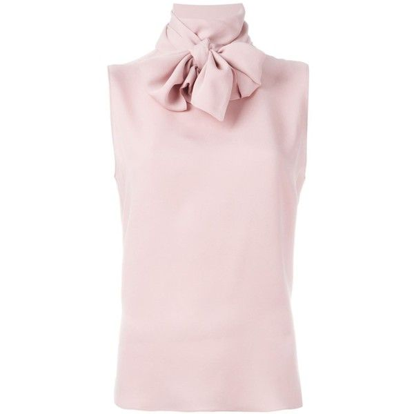 Valentino Pussybow Blouse found on Polyvore featuring tops, blouses, shirts, sleeveless silk blouse, pink sleeveless shirt, pink top, pink silk shirt and sleeveless shirts