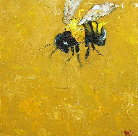 Bee painting 202 12x12 inch original oil painting by Roz via Etsy